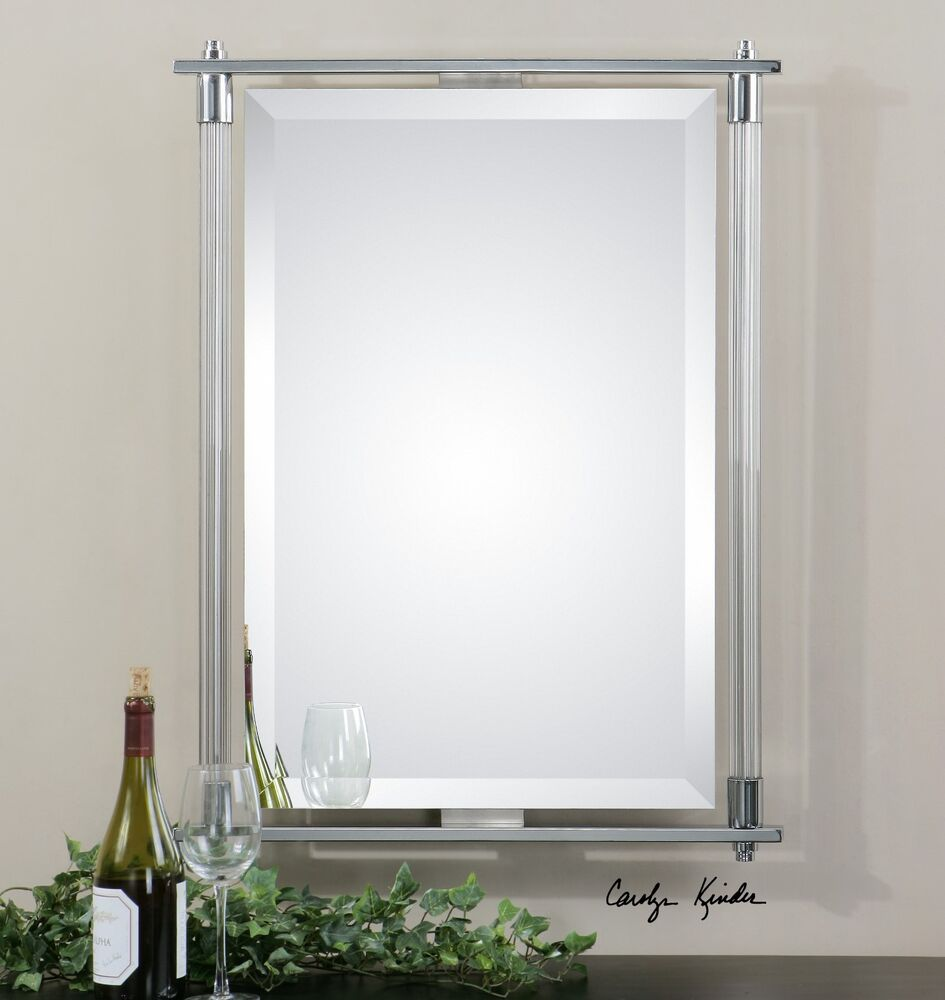 NEW LARGE 36 RIBBED GLASS  METAL BEVELED WALL MIRROR