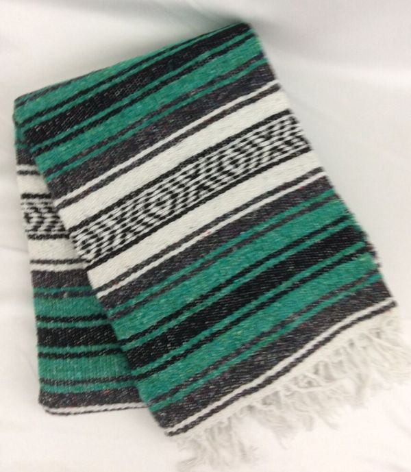 Mexican Blanket Serape Saltillo Throw Green Gray Black