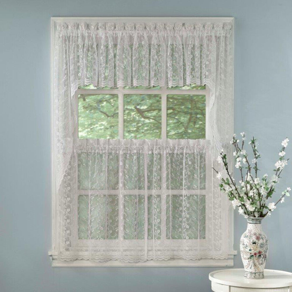 swag kitchen curtains country dining tables elegant white priscilla lace tiers tailored valance or ebay