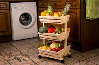3 tier Wooden vegetable rack fruit food storage rack on ...