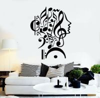 Wall Stickers Vinyl Decal Notes Music Woman Teen Girl Face ...