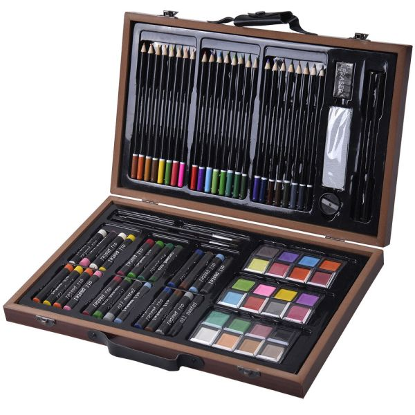 80-piece Deluxe Art Set Drawing And Painting With Wood Case