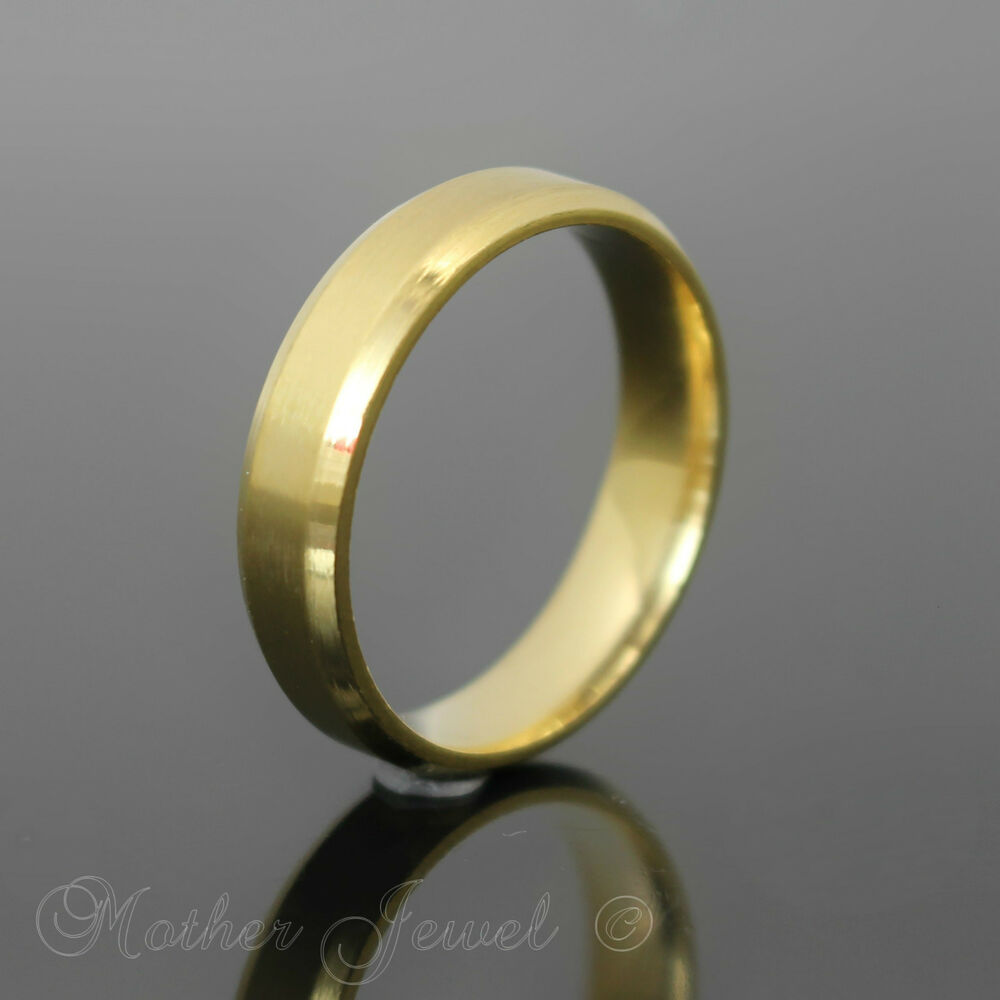 PLAIN GOLD STAINLESS STEEL WEDDING ANNIVERSARY 6MM THICK