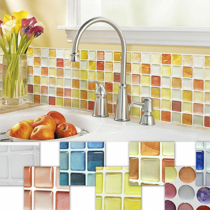 Tile Bathroom Kitchen Removable Foil Sticker Diy