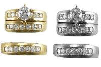 14k Yellow White Gold Trio Bridal Sets His and Hers ...