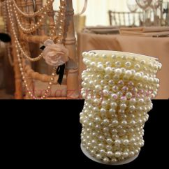 Wedding Chair Back Decorations Covers By Sylwia 66ft 20m Table Decoration Ivory 8mm Plastic Pearl Beaded Garland | Ebay