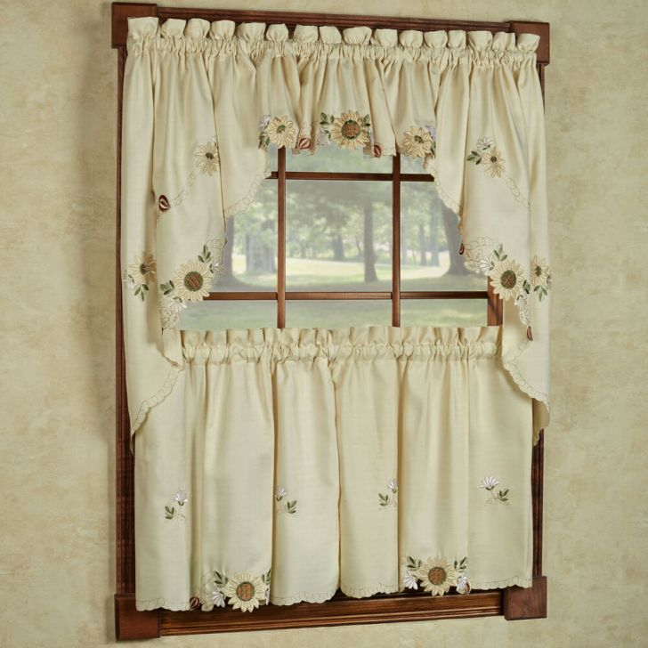 Cream Embroidered Kitchen Curtains Tiers Valance Swag