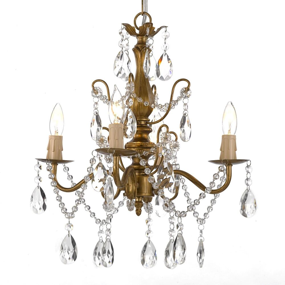 Wrought Iron and Crystal 4 Light Gold Chandelier H14 X W15