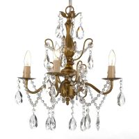 Wrought Iron and Crystal 4 Light Gold Chandelier H14 X W15 ...