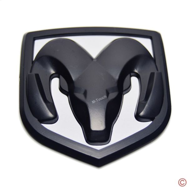 Black White Head Grill Trunk Tailgate Emblem Badge