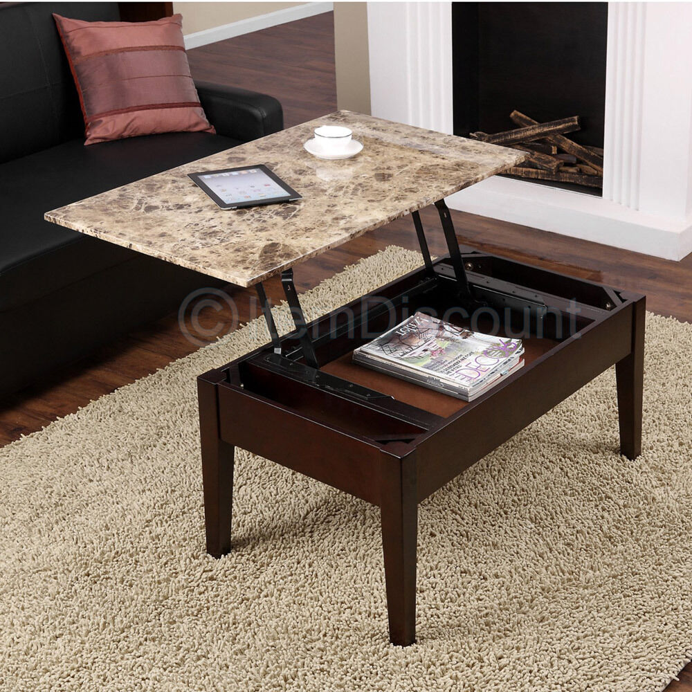 Brown Faux Marble Lift Top Coffee Table Laptop Stand TV