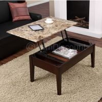 Brown Faux Marble Lift Top Coffee Table Laptop Stand TV ...