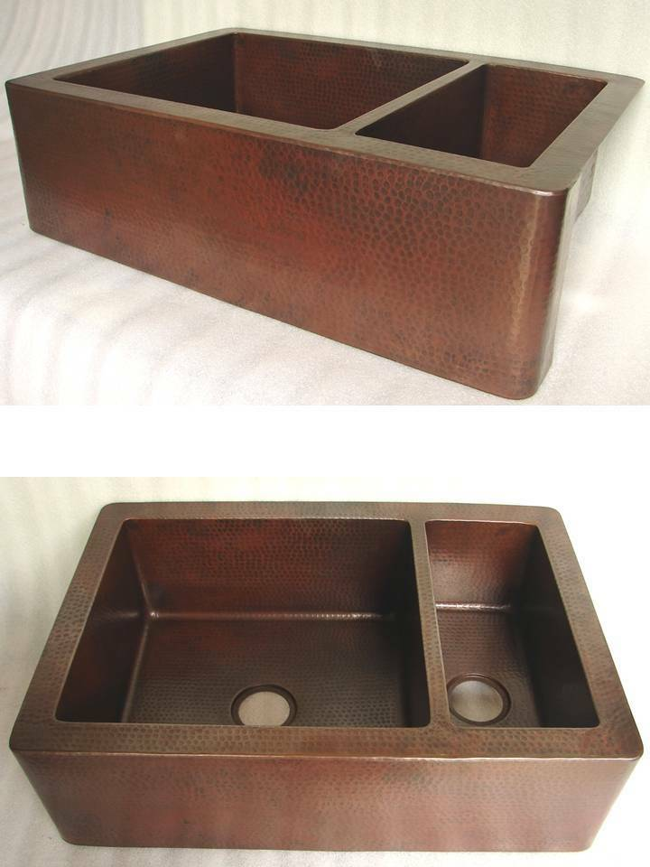 36x22 DOUBLE BOWL 8020 Copper Kitchen SINK FARMHOUSE Old PATINA Finish EBay