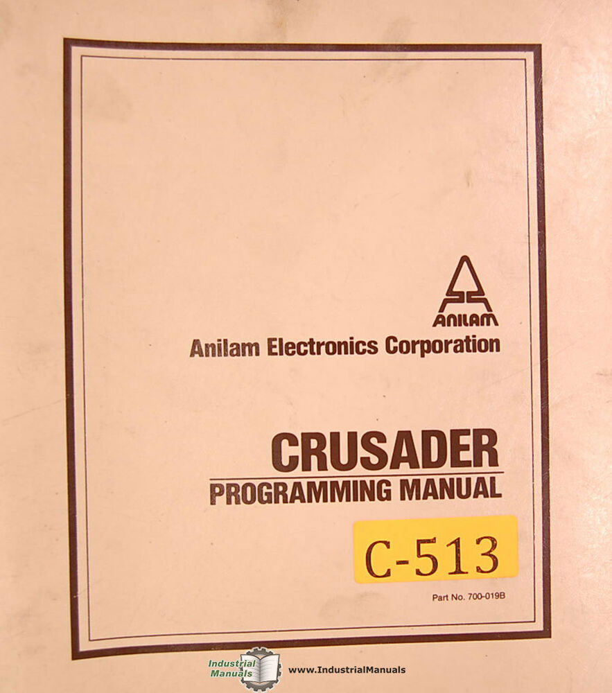 hight resolution of s l1000 anilam crusader i or ii cnc control programming manual 1984