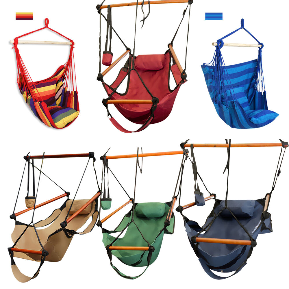hanging chair ebay modern office guest chairs outdoor cotton striped hammock rope porch swing seat camping patio |