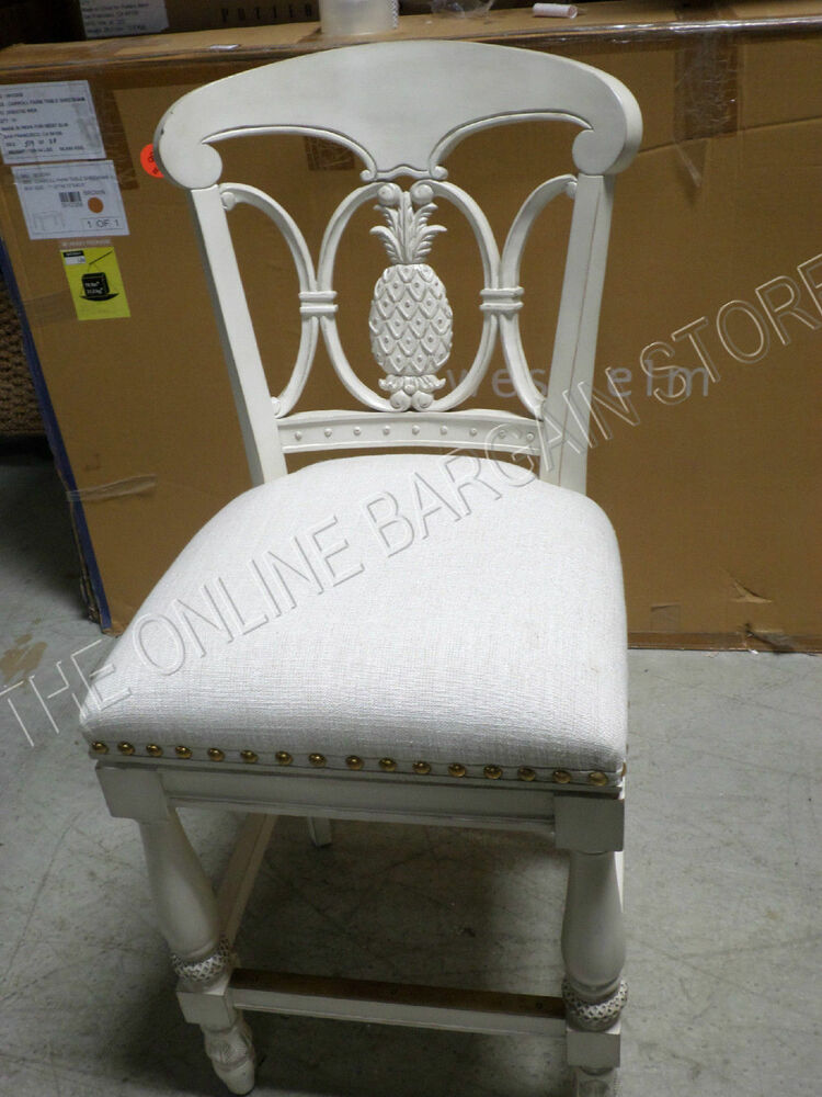 Frontgate Pineapple Wood Barstool Counter Chair FABRIC