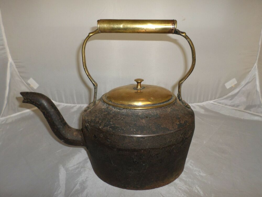Victorian Antique Cast Iron And Brass Kettle  Ebay