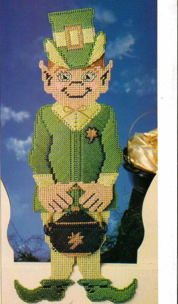 MISCHIEVOUS ELF ST PATRICKS DAY PLASTIC CANVAS PATTERN