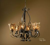 "LARGE 31"" IRON & GLASS HANGING CHANDELIER / CEILING ..."
