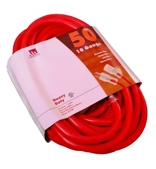 50' Extension Cord 10 Gauge Heavy Duty Grounded Lit End 3 Awg Ft Feet