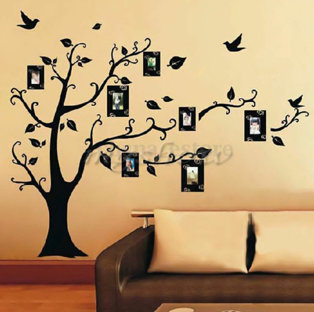 DIY Home Family Decor Photo Black Tree Removable Decal