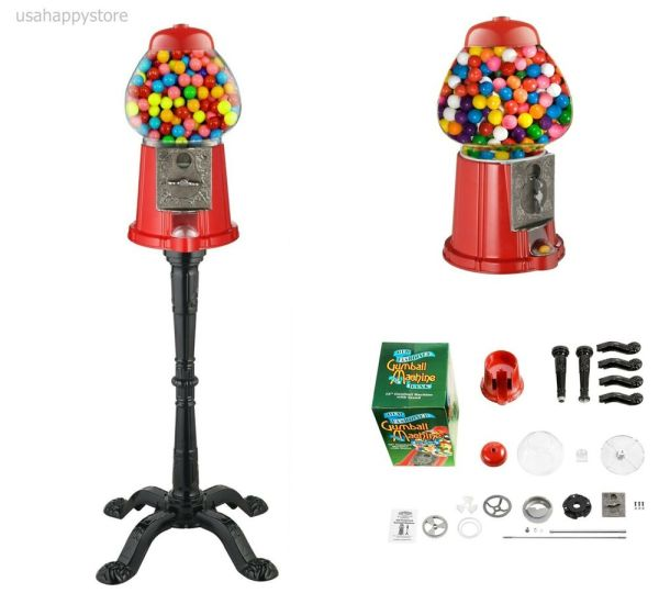 Candy Gumball Machine With Stand Glass Vending Coin Mechanism Dispenser Antique