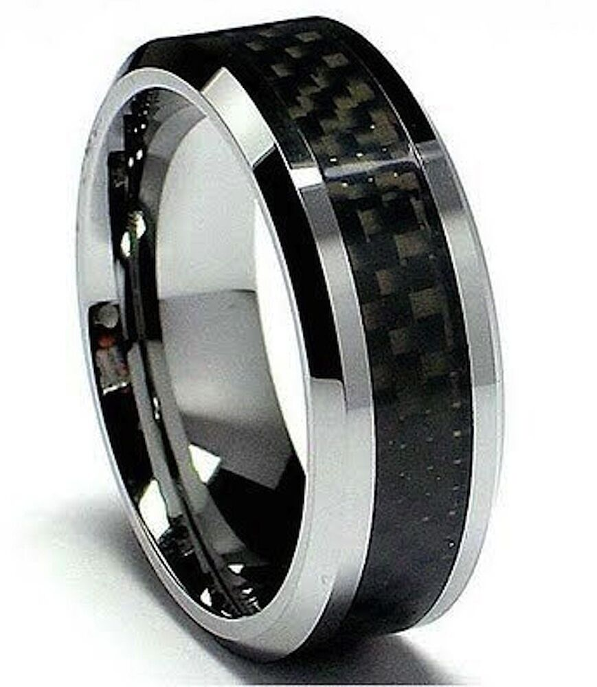 MENS TUNGSTEN CARBIDE WITH CARBON FIBRE INLAY WEDDING ENGAGEMENT ETERNITY RING  eBay