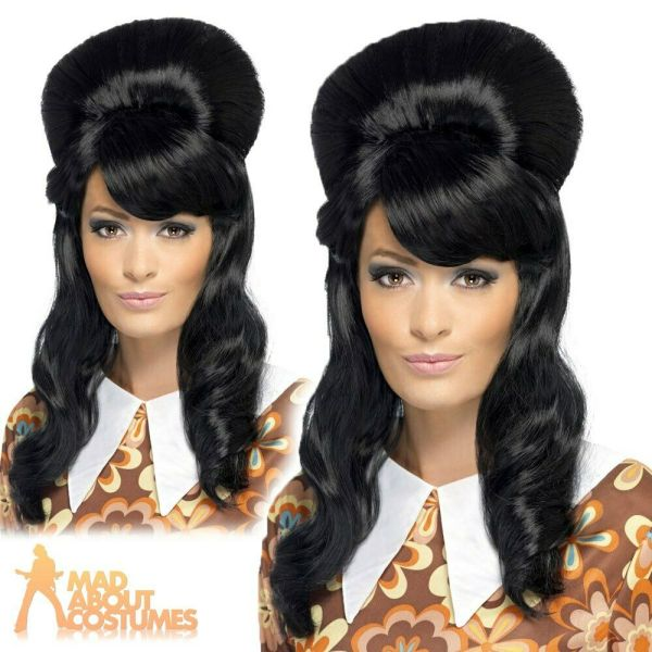 60s Brigitte Bouffant Beehive Wig Adult Black Hippy Womens