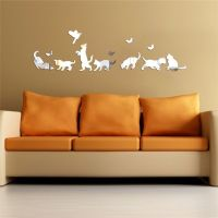 Cats Dogs Modern Acrylic Plastic Mirror Wall ROOM Decal
