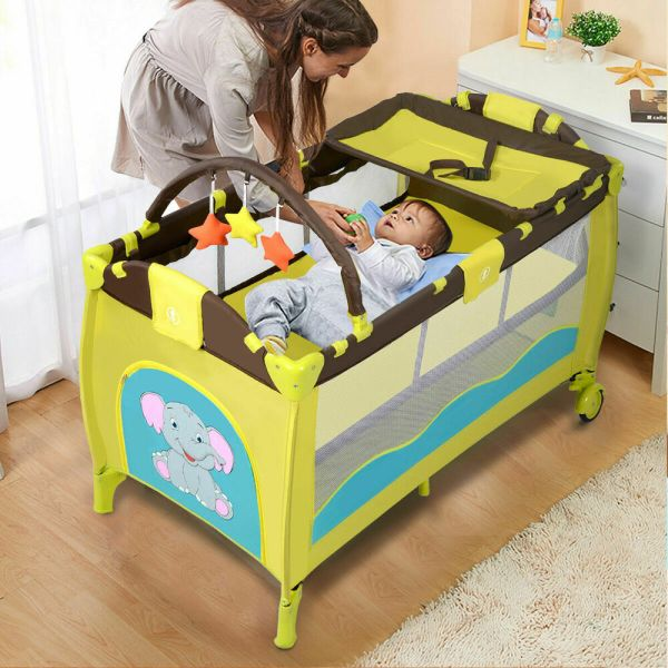 Green Baby Crib Playpen Playard Pack Travel Infant Bassinet Bed Foldable