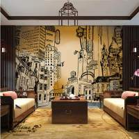 3D City Portraits Black White Wallpaper Full Wall Mural ...