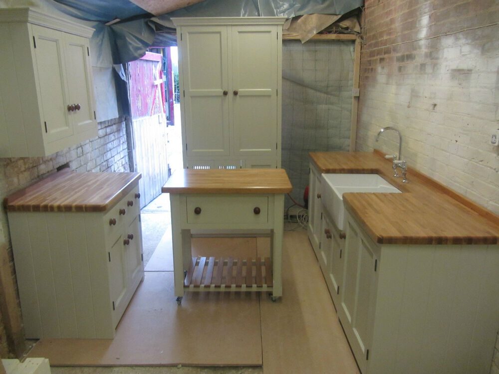 freestanding kitchen pantry special offer bargain 5 piece painted pine units oak tops ebay