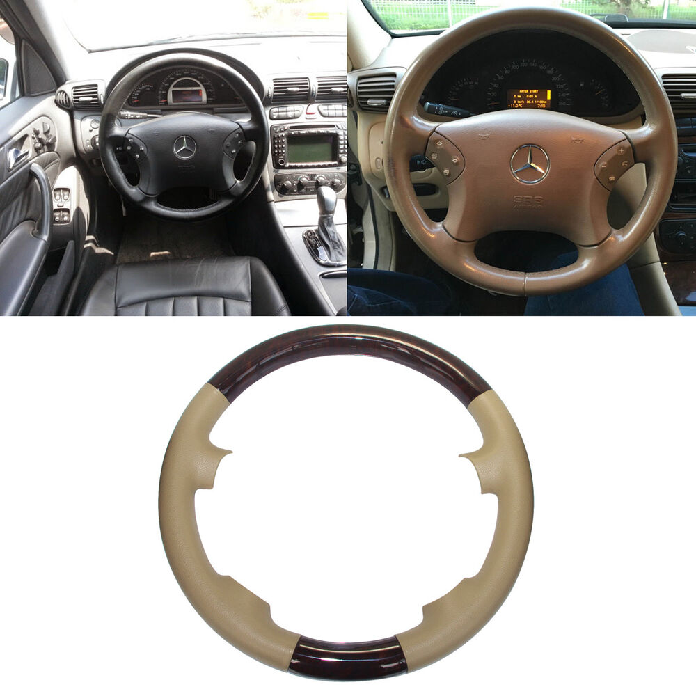 hight resolution of details about tan leather wood steering wheel cover cap 00 07 mercedes w203 c class c240 c320