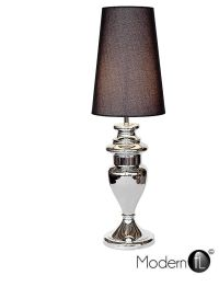 TALL CHROME SILVER TABLE LAMP WITH BLACK LINEN SHADE ...