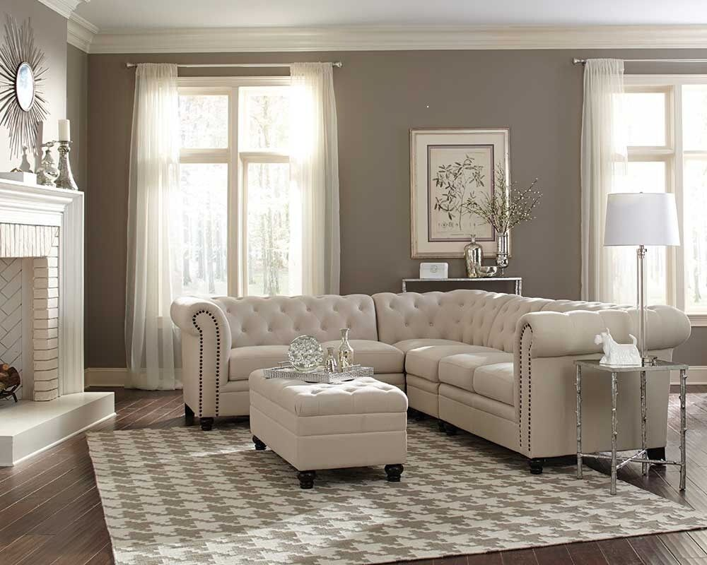TRADITIONAL BUTTON TUFTED OATMEAL LINEN BLEND FABRIC SOFA SECTIONAL FURNITURE  eBay