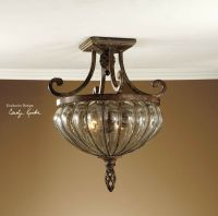 HAND BLOWN BRONZE WROUGHT IRON CEILING LIGHT CEILING ...