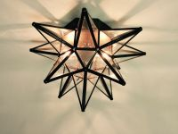 "Moravian Star Ceiling Light/Wall Sconce 15"", Glass, Hand ..."