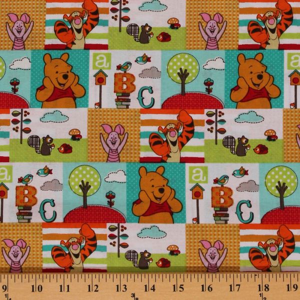 Character Patch Winnie Pooh Abcs Cartoon Cotton Fabric