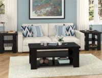 Modern Coffee Table Wooden Black Sofa Tables Living Room ...