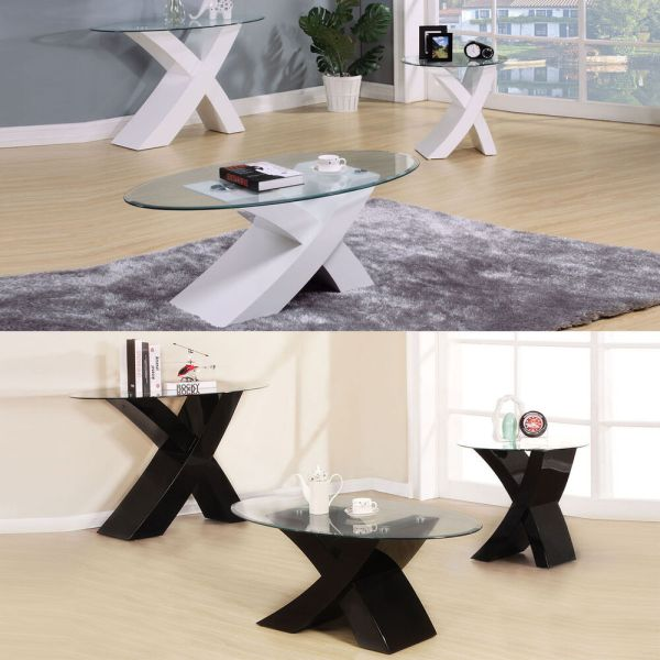 Black End Table with Glass Top