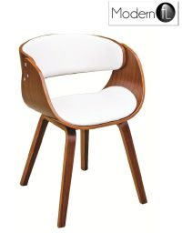 MODERN WALNUT AND WHITE DINING CHAIR, CURVED WOOD AND ...