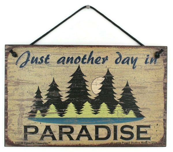 Paradise Sign Country Living Outdoor Relax Ing Wood