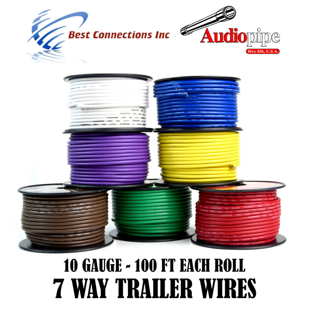 hight resolution of details about 7 way trailer wire light cable for harness led 100ft each roll 10 gauge 7 rolls