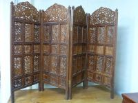 ANTIQUE 4 PANEL IVY LEAVES WOOD CARVED SCREEN/ROOM DIVIDER