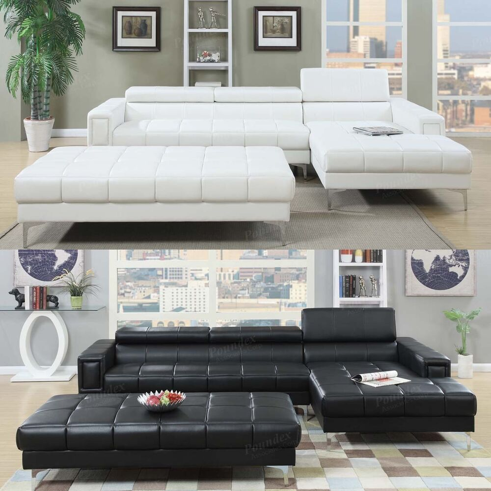 3 PC Black White Bonded Leather Tufted Sectional Sofa w X Long Cocktail Ottoman  eBay