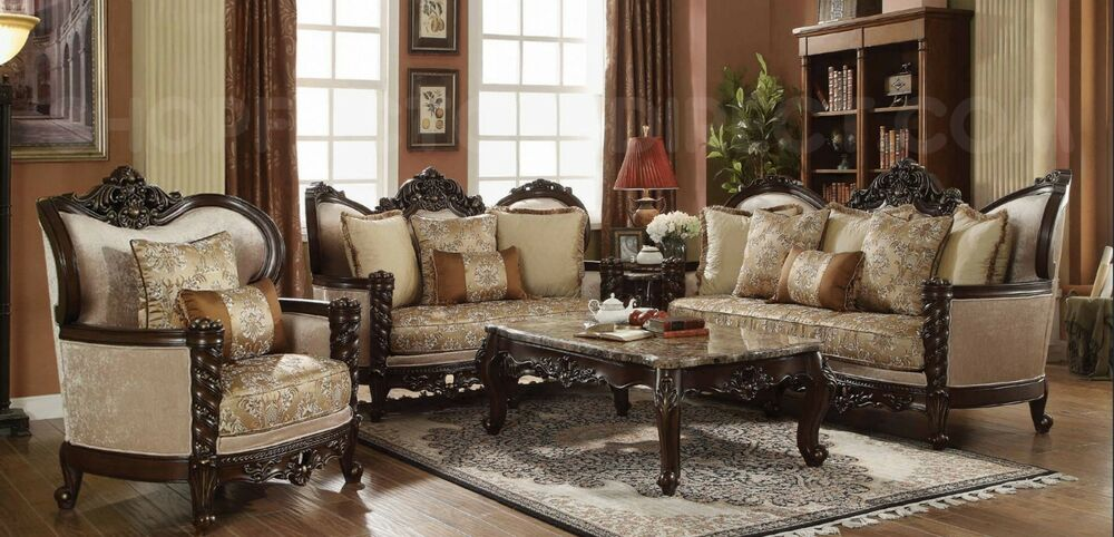 brown leather sofa on legs ikea bed covers traditional victorian luxury & love seat formal ...