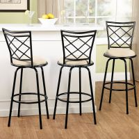 3 Adjustable Swivel Bar Stool Set Counter Height Kitchen ...