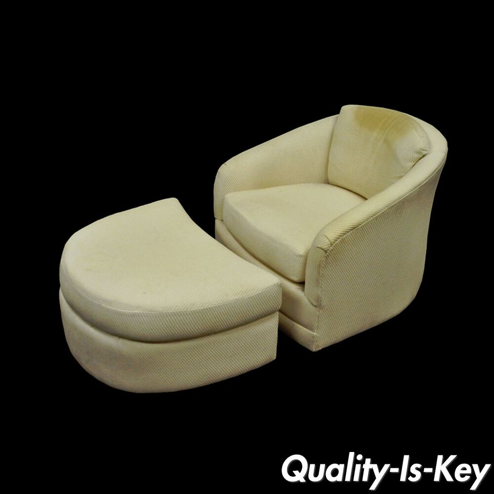 swivel club chair with ottoman antique chairs for sale vintage mid century modern maurice villency lounge details about