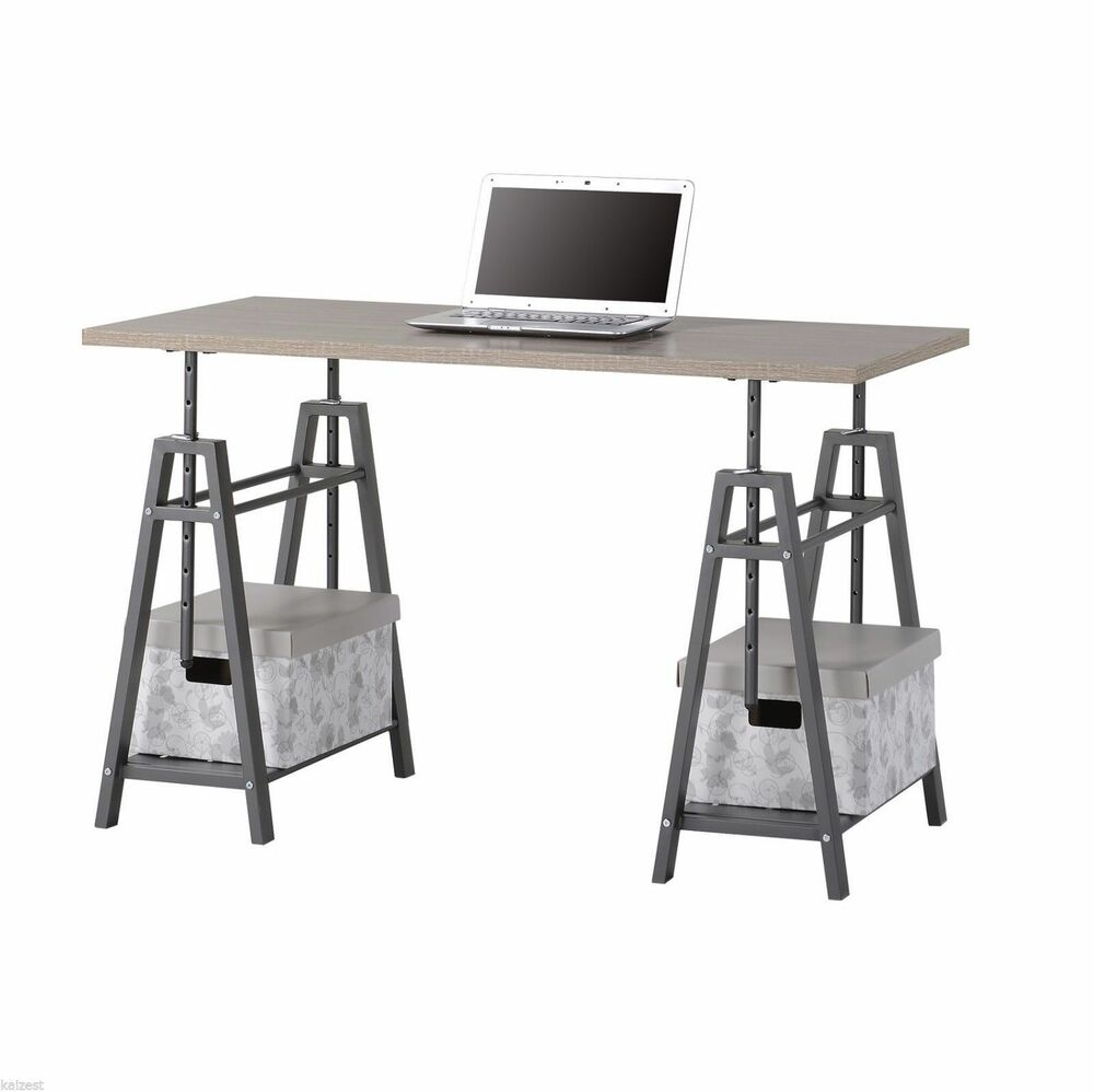 Modern Standing Desk Adjustable Sawhorse Industrial Table