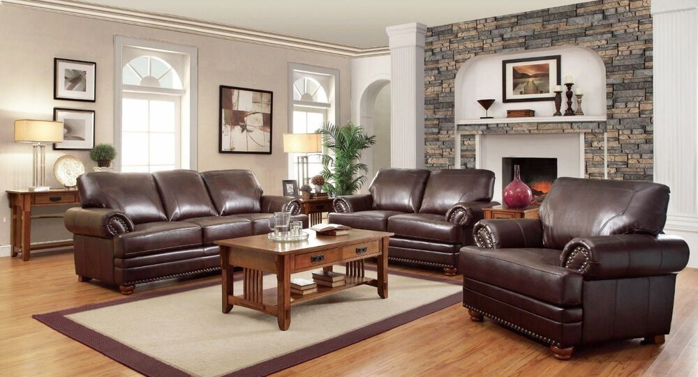 Traditional Brown Bonded Leather Sofa Loveseat Chair